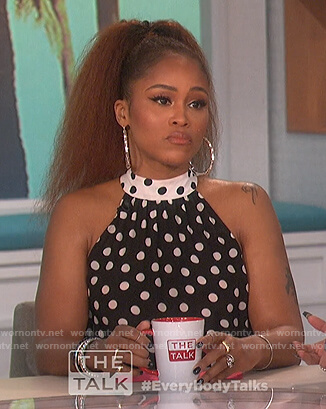 Eve's polka dot top and skirt on The Talk