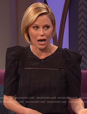Julie Bowen's black puff sleeve top on The Wendy Williams Show