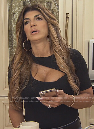 Teresa's black cutout bodysuit on The Real Housewives of New Jersey