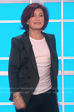 Sharon's black satin blazer on The Talk