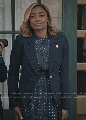 Daisy's polka dot dress and blazer on Madam Secretary