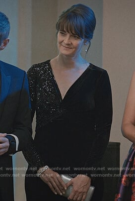 Jane Stulbarg's black sequin twisted gown on Madam Secretary