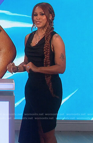 Eve's black zip asymmetric dress on The Talk