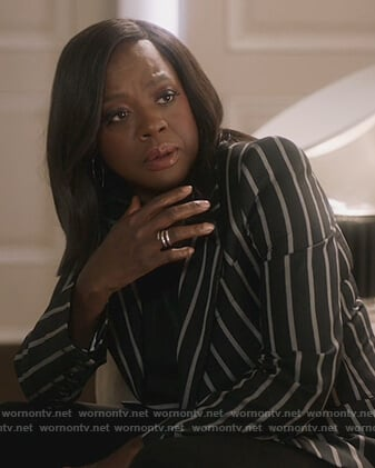 Annalise's black stripe blazer on How to Get Away with Murder