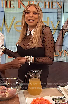 Wendy's black tulle dot bodysuit on The Wendy Williams Show