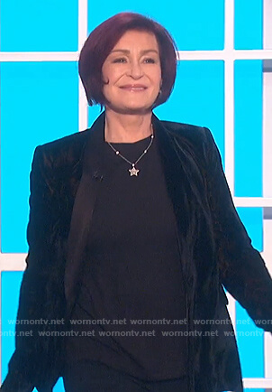 Sharon's black velvet blazer on The Talk