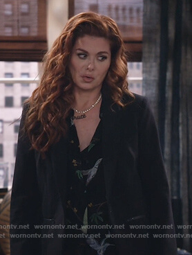Grace's black blazer with zip pockets on Will and Grace