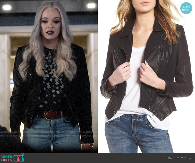 Blank NYC Faux Leather Moto Jacket worn by Caitlin Snow (Danielle Panabaker) on The Flash