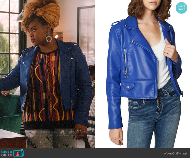 Blank NYC Faux Leather Moto Jacket worn by Kourtney (Dara Renee) on High School Musical The Musical The Series