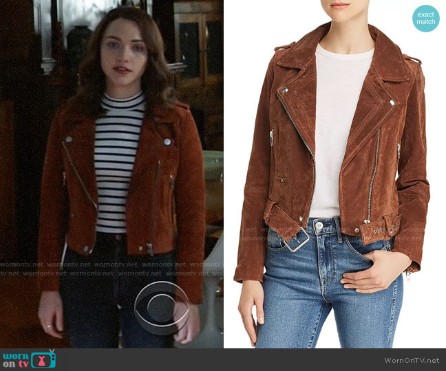 Blank NYC  Suede Moto Jacket worn by Cara Bloom (Violett Beane) on God Friended Me
