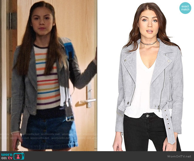 Blank NYC Suede Moto Jacket worn by Nini (Olivia Rodrigo) on High School Musical The Musical The Series