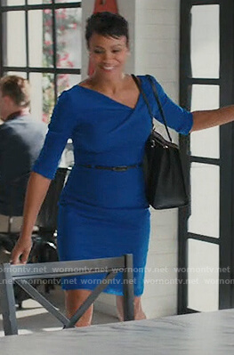Angela's blue belted sheath dress on American Housewife