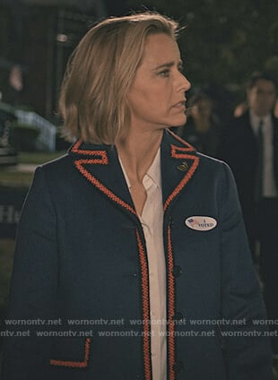 Elizabeth's wool embroidered trim coat on Madam Secretary