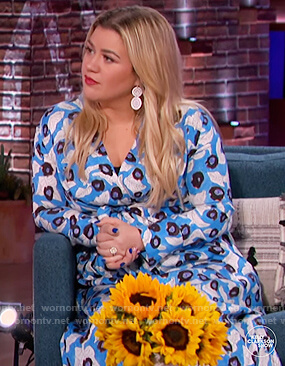 Kelly's blue floral print midi dress on The Kelly Clarkson Show