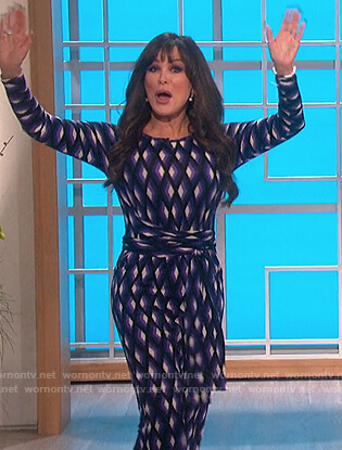 Marie's blue geometric print dress on The Talk