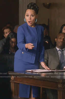 Tegan's blue jacket and skirt on How to Get Away with Murder