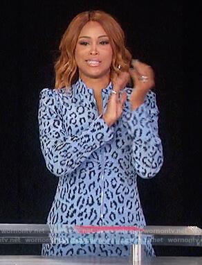 Eve's blue leopard zip front dress on The Talk