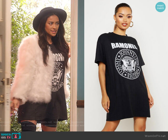 Ramones License T-Shirt Dress by Boohoo worn by Stella Cole (Shay Mitchell) on Dollface
