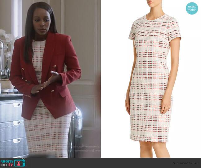 Decka Plaid Sheath Dress by BOSS worn by Michaela Pratt (Aja Naomi King) on HTGAWM