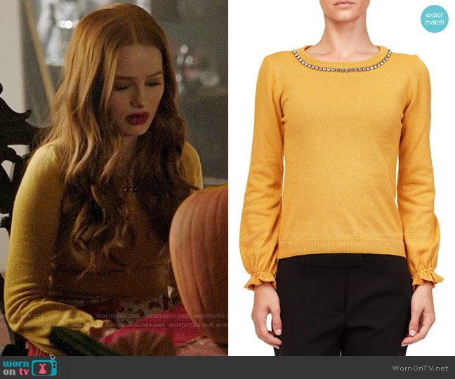 Boutique Moschino Lurex Sweater worn by Cheryl Blossom (Madelaine Petsch) on Riverdale