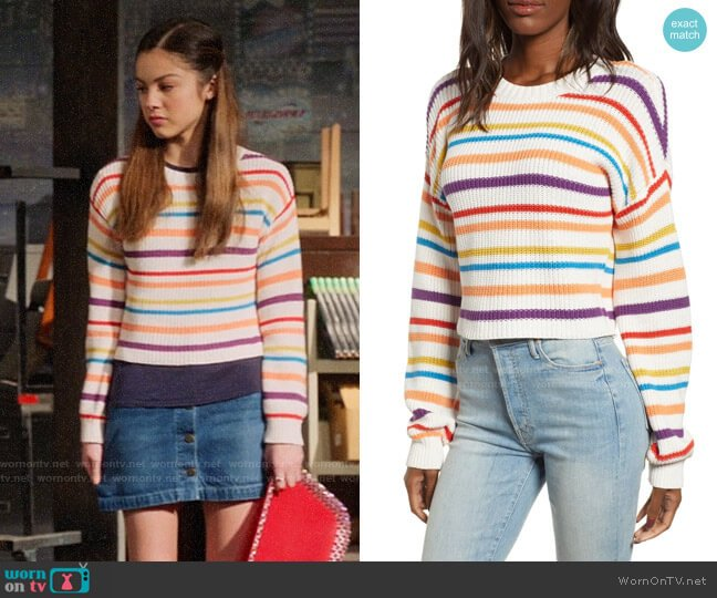 BP Multistripe Cotton Sweater worn by Nini (Olivia Rodrigo) on High School Musical The Musical The Series