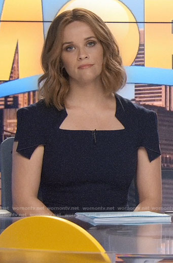 Bradley's navy cap sleeve dress on The Morning Show
