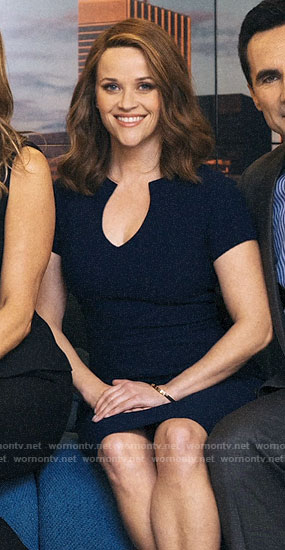 Bradley's navy split neck dress on The Morning Show