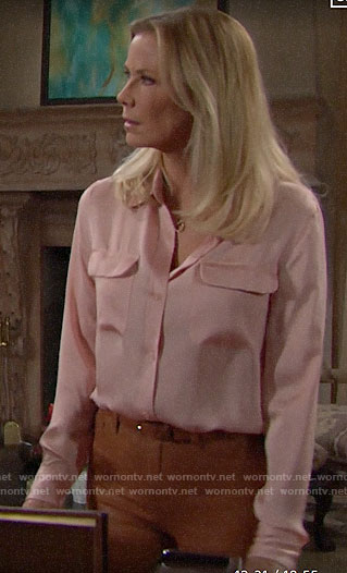 Brooke's pink button down blouse and leather pants on The Bold and the Beautiful