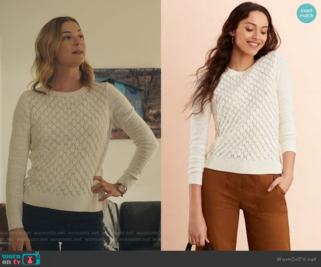 Diamond Pointelle Sweater by Brooks Brothers  worn by Nicolette Nevin (Emily VanCamp) on The Resident
