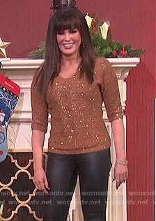 Marie's brown embellished sweater on The Talk