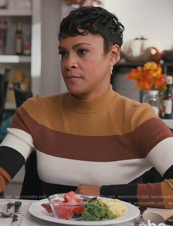 Angela's brown striped sweater on American Housewife
