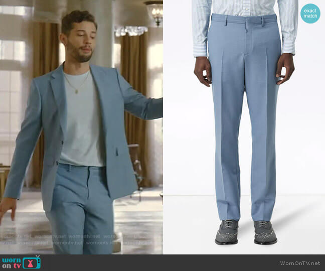 Classic Fit Wool Tailored Trousers by Burberry worn by Sam Flores (Rafael de la Fuente) on Dynasty