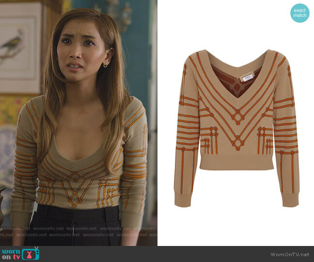 Rope Silk Wool Jacquard V-neck Sweater by Burberry worn by Madison Maxwell (Brenda Song) on Dollface