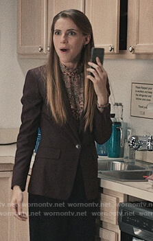 Stevie's geometric ruffle blouse and blazer on Madam Secretary