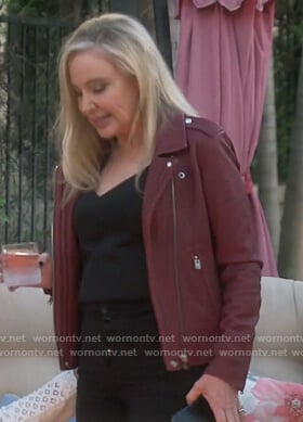 Shannon's burgundy moto jacket on The Real Housewives of Orange County