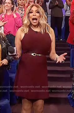 Wendy's burgundy sleeveless dress on The Wendy Williams Show