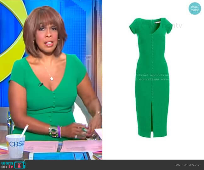 Buttoned Crepe Cocktail Dress by Safiyaa worn by Gayle King  on CBS This Morning