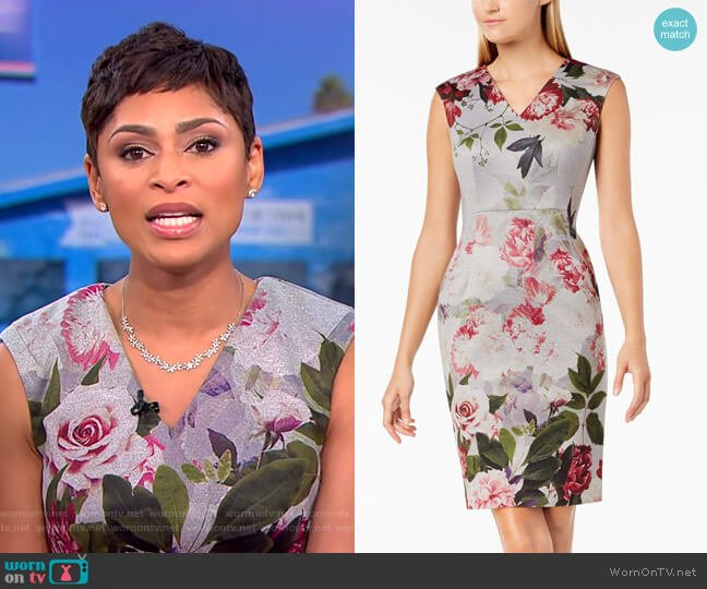 Floral-Print V-Neck Sheath Dress by Calvin Klein worn by Jericka Duncan  on CBS This Morning