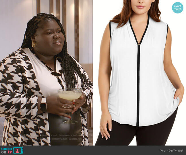 Plus Size Sleeveless Contrast-Trim Top by Calvin Klein worn by Becky (Gabourey Sidibe) on Empire