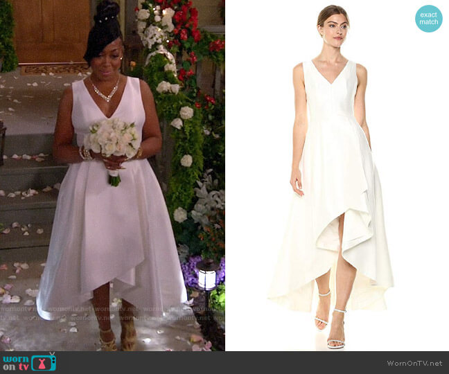 Calvin Klein Sleeveless V-Neck High Low Gown with Back Zipper worn by Tina (Tichina Arnold) on The Neighborhood