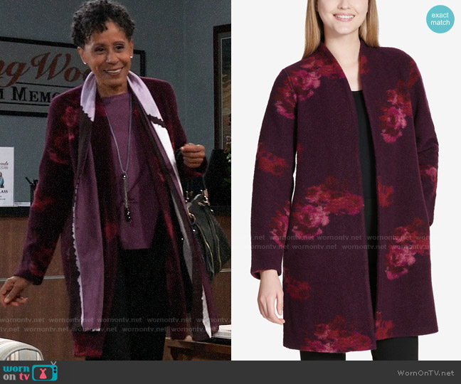 Calvin Klein Floral Print Cardigan worn by Stella Henry (Vernee Watson) on General Hospital