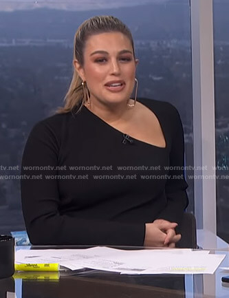 Carissa's black asymmetric neckline dress on E! News Daily Pop