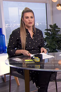 Carissa's black geometric print shirtdress on E! News Daily Pop