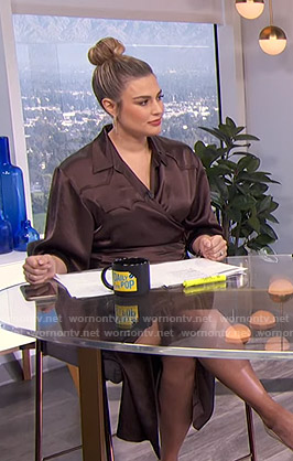 Carissa's brown satin wrap blouse and skirt on E! News Daily Pop