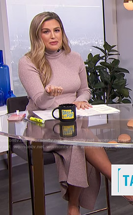 Carissa's metallic ribbed knit dress on E! News Daily Pop