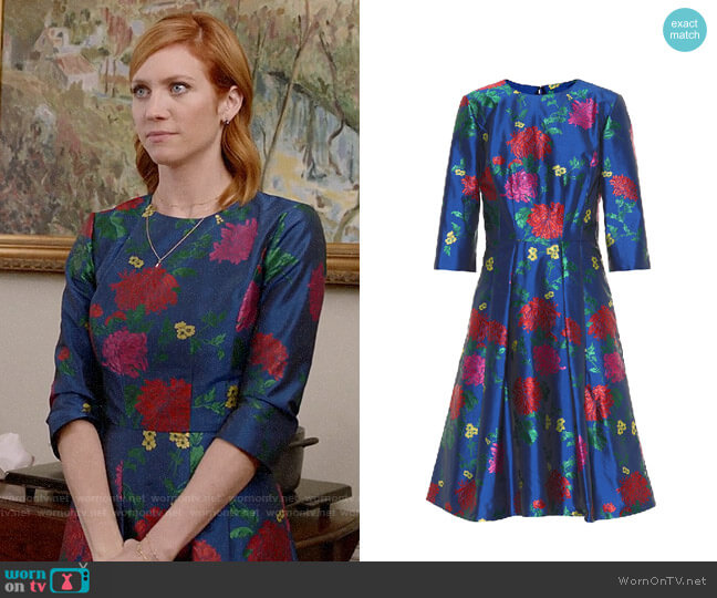 Carolina Herrera 3/4-Sleeve Floral-Jacquard A-Line Cocktail Dress worn by Julia Bechley (Brittany Snow) on Almost Family