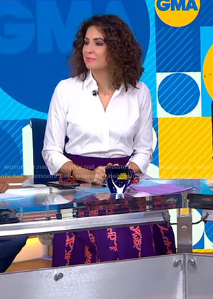 Cecilia's purple printed pleated skirt on Good Morning America