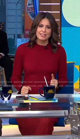Cecilia's red ribbed knit dress on Good Morning America
