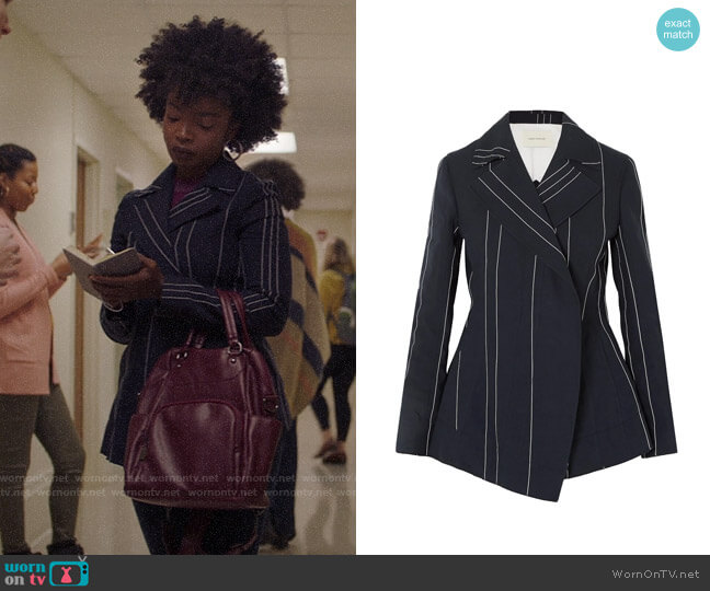 Cedric Charlier Double-breasted pinstriped linen and cotton-blend blazer worn by Briana Johnson (MaameYaa Boafo) on Bluff City Law