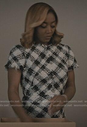 Daisy's tweed plaid dress on Madam Secretary